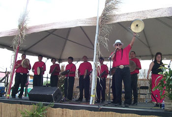 The Black Lodge Singers at the JazzFest in New Orleans, Louisiana.